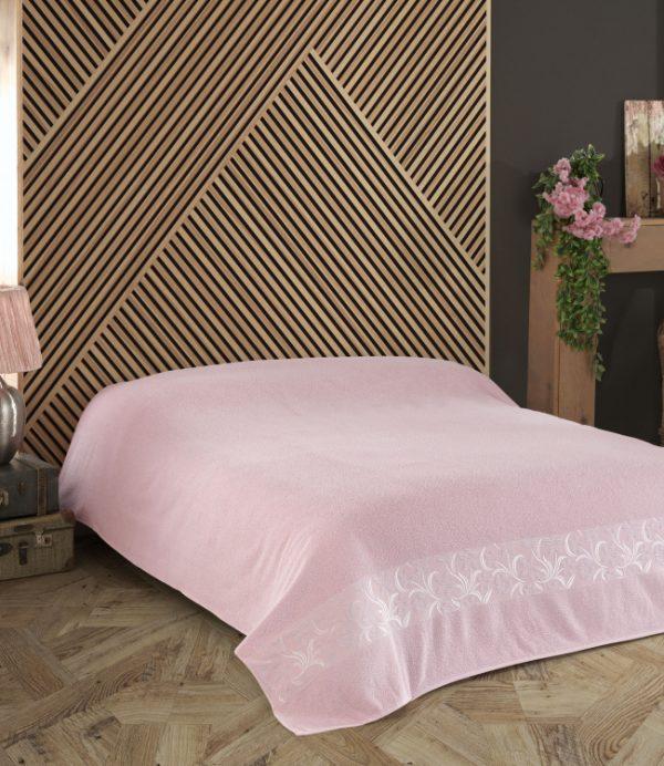 купить Махровая простынь-покрывало Пике Gold Soft Life Daisy персиковый Розовый фото