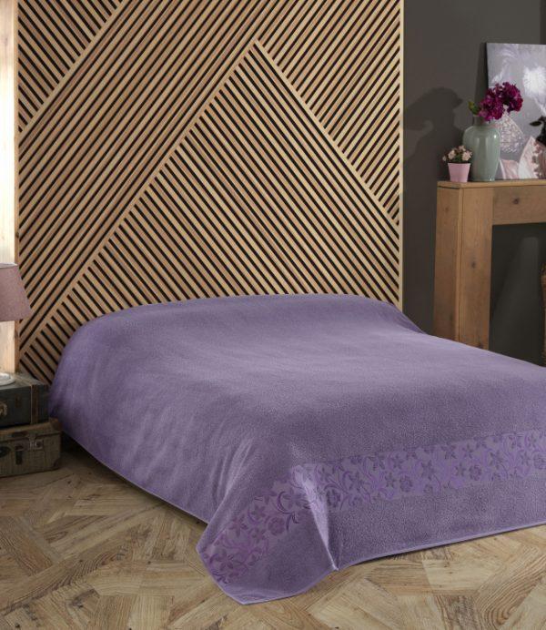 купить Махровая простынь-покрывало Пике Gold Soft Life Daisy фиолетовый Фиолетовый фото