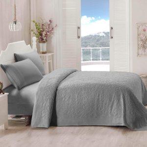 купить Покрывало-простынь махровая TAC Lyon 200x220 серый Серый фото