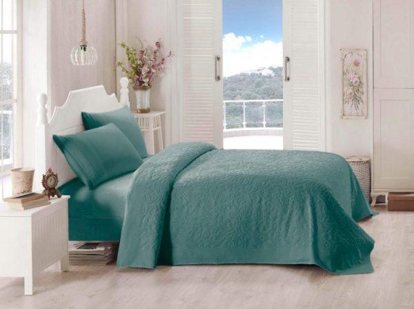 купить Покрывало-простынь махровая TAC Lyon 200x220 зеленый Зеленый фото