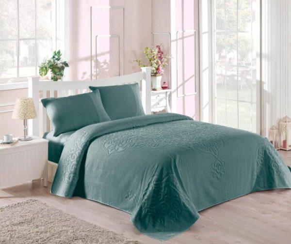 купить Покрывало-простынь махровая TAC Dama royal 200x220 зеленый Зеленый фото