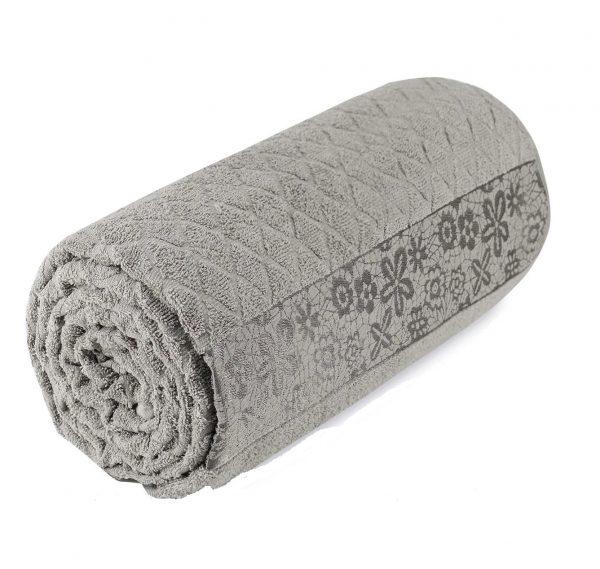 купить Махровая простынь-покрывало Пике Sikel cotton Botanik 200x220 темный бежевый Бежевый фото