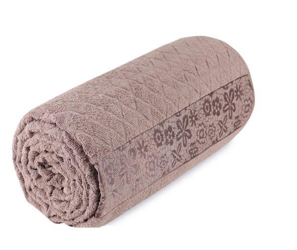 купить Махровая простынь-покрывало Пике Sikel cotton Botanik 200x220 коричневый Бежевый фото