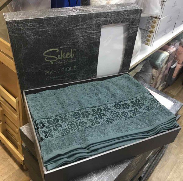купить Махровая простынь-покрывало Пике Sikel cotton Botanik 200x220 зеленый Зеленый фото