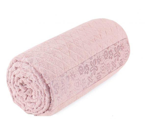 купить Махровая простынь-покрывало Пике Sikel cotton Botanik 200x220 пудровый Розовый фото