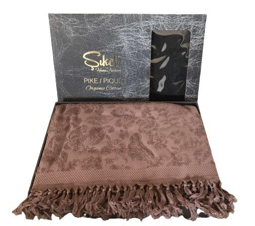 купить Махровая простынь-покрывало Пике Sikel жаккард Lilyum Penye 200x220 сливовый Лиловый фото