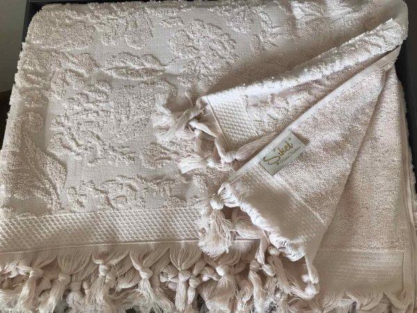 купить Махровая простынь-покрывало Пике Sikel жаккард Lilyum Penye 200x220 персиковый Кремовый фото
