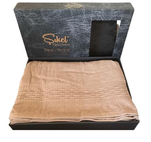 купить Махровая простынь-покрывало Пике Sikel cotton Imperial 200x220 пудровый Бежевый фото
