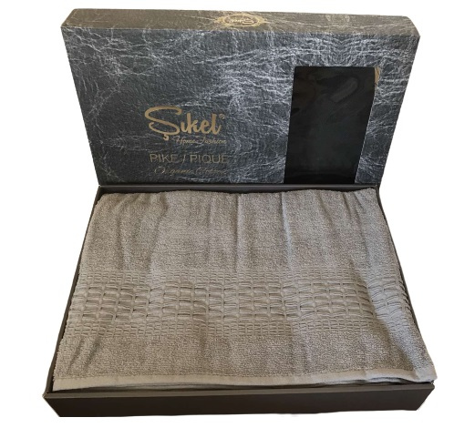 купить Махровая простынь-покрывало Пике Sikel cotton Imperial 200x220 темно серый Серый фото
