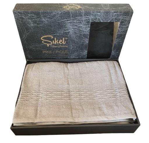 купить Махровая простынь-покрывало Пике Sikel cotton Imperial 200x220 серый Бежевый фото