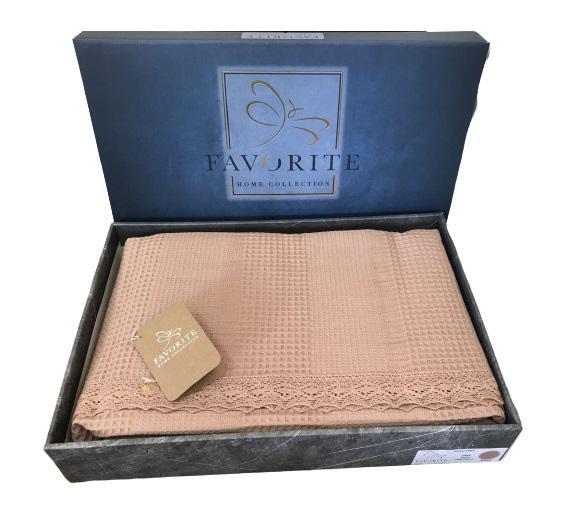 купить Вафельное покрывало-простынь Пике Favorite Gold 200x240 светлая роза Розовый фото