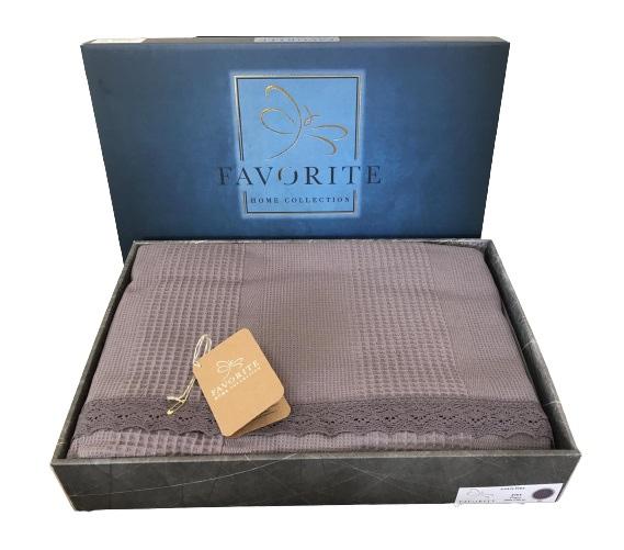 купить Вафельное покрывало-простынь Пике Favorite Gold 200x240 темно серый  фото