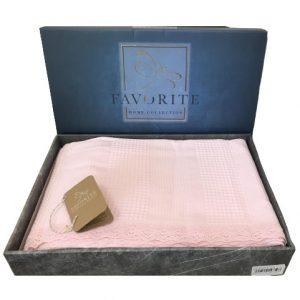 купить Вафельное покрывало-простынь Пике Favorite Gold 200x240 розовый Розовый фото