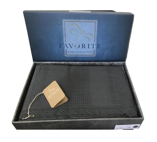 купить Вафельное покрывало-простынь Пике Favorite Gold 200x240 антрацит Серый фото