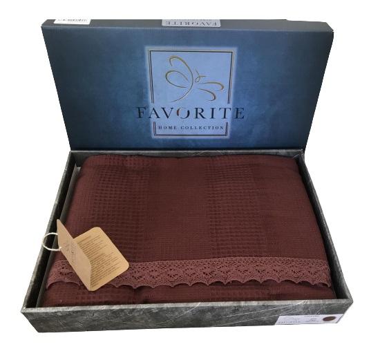 купить Вафельное покрывало-простынь Пике Favorite Gold 200x240 бордо Бордовый фото