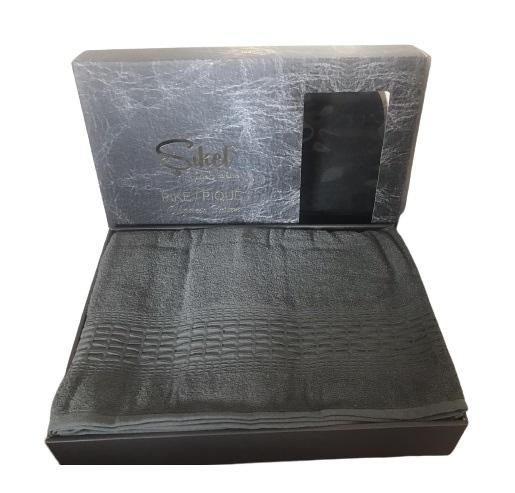 купить Махровая простынь-покрывало Пике Sikel cotton Imperial 200x220 зеленый Серый фото