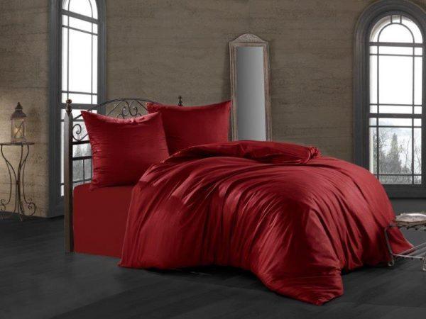 купить Постельное белье Zugo Home сатин однотонный Bordeaux Красный фото