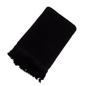 купить Махровое полотенце UzTex Home 500 бахрома 70x140 черный Черный фото