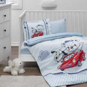 купить Детское постельное белье Ozdilek ранфорс Hello World Голубой фото