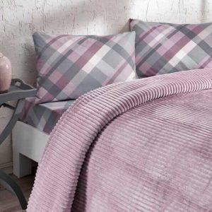 купить Постельное белье с пледом Ozdilek Plaid розовый Лиловый фото