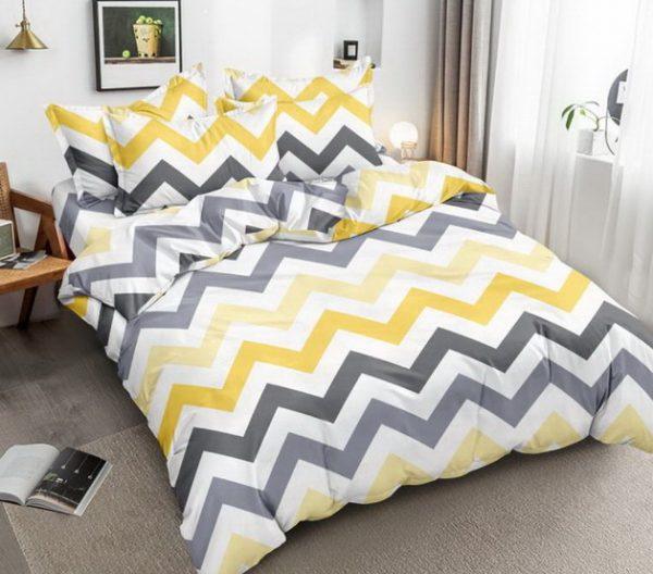 купить Постельное белье Bella Villa микросатин SP 43-44 Желтый|Серый фото