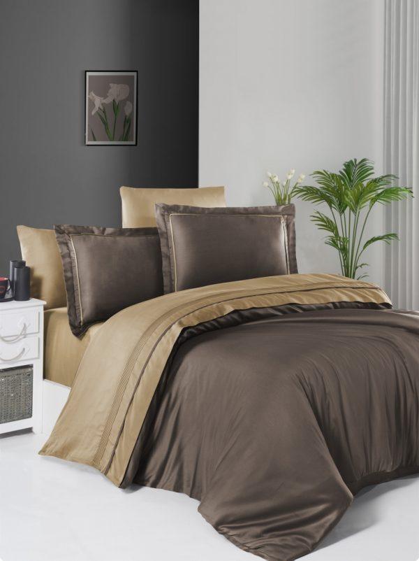 купить Постельное белье First Choice сатин De Luxe двухцветный 200х220 brown-caramel Коричневый фото