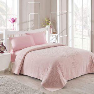 купить Махровое покрывало-простынь TAC Dama Pink 200×220 Розовый фото