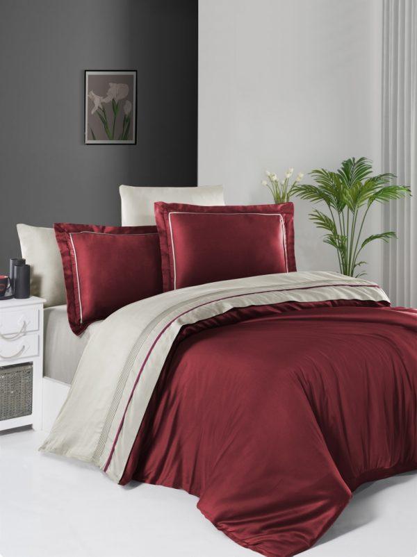 купить Постельное белье First Choice сатин De Luxe двухцветный 200х220 dark red-beige Красный Бежевый фото