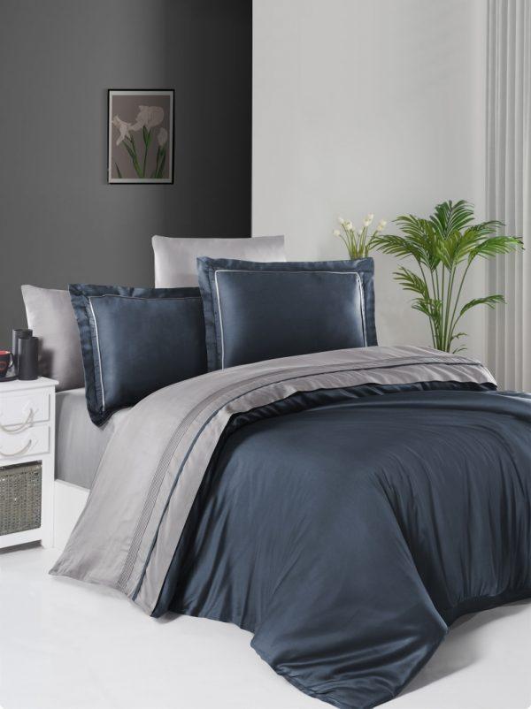 купить Постельное белье First Choice сатин De Luxe двухцветный 200х220 denim-grey Синий|Серый фото
