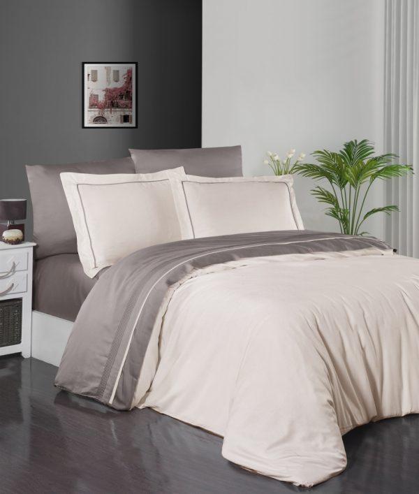 купить Постельное белье First Choice сатин De Luxe двухцветный 200х220 ivory-mink Кремовый Серый фото