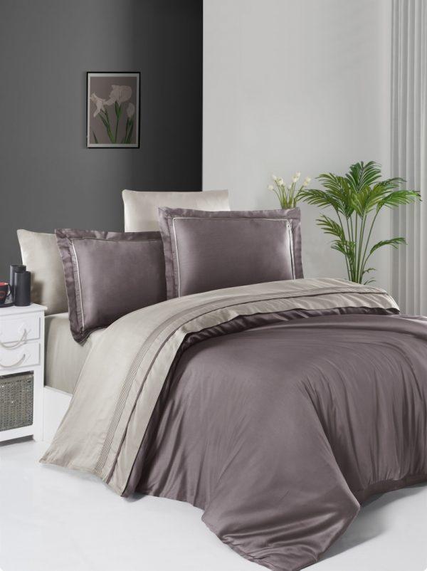 купить Постельное белье First Choice сатин De Luxe двухцветный 200х220 lilac-beige Бежевый|Лиловый фото
