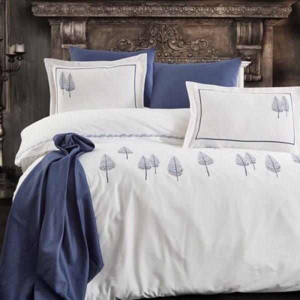 купить Постельное белье премиум cатин с вышивкой Dantela PAMIRA LACIVERT Кремовый|Синий фото