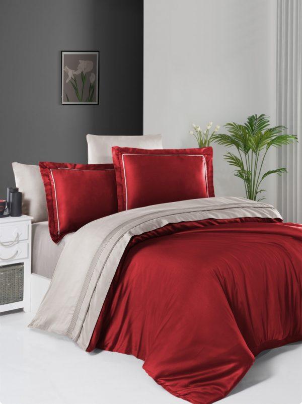 купить Постельное белье First Choice сатин De Luxe двухцветный 200х220 red-sand Черный|Бежевый фото