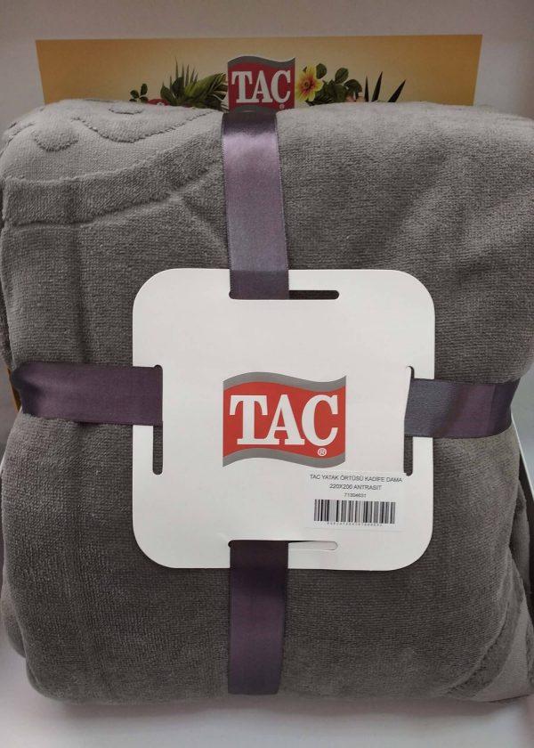 купить Махровое покрывало-простынь TAC Dama Antracit 200×220 Серый фото