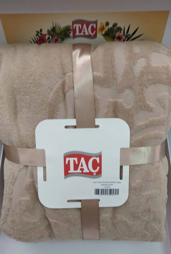 купить Махровое покрывало-простынь TAC Dama Cappucino 200×220 Бежевый фото