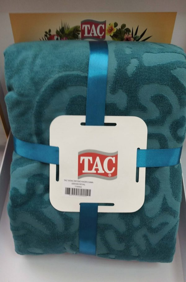 купить Махровое покрывало-простынь TAC Dama Royal 200×220 Бирюзовый фото