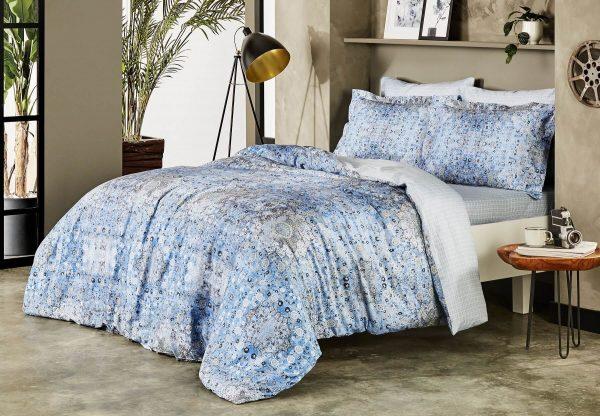 купить Постельное белье TAC Monza Blue Сатин-Digital Голубой фото