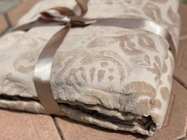 купить Махровое покрывало-простынь TAC Lyon Cappucino 200×220 Бежевый фото
