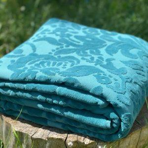 купить Махровое покрывало-простынь TAC Lyon Royal 200×220 Голубой фото