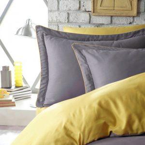 купить Постельное белье сатин Dantela vita TUANA YELLOW Серый Желтый фото