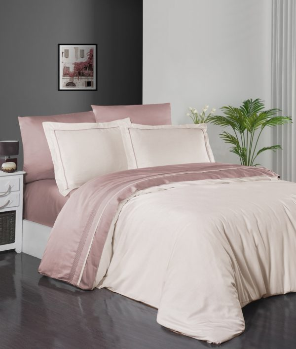 купить Постельное белье First Choice сатин De Luxe двухцветный 200х220 vory-powder Кремовый|Розовый фото