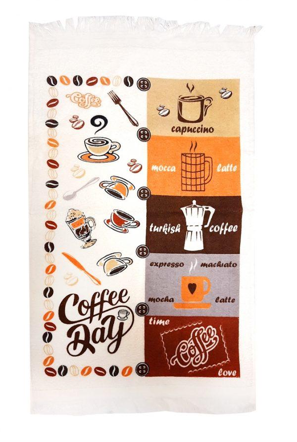 купить Кухонное полотенце махр coffee day 40*60 Коричневый|Бежевый фото