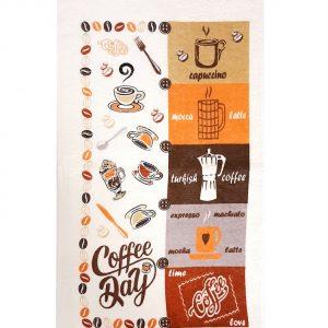 купить Кухонное полотенце махр 30*50 coffee day Коричневый|Бежевый фото