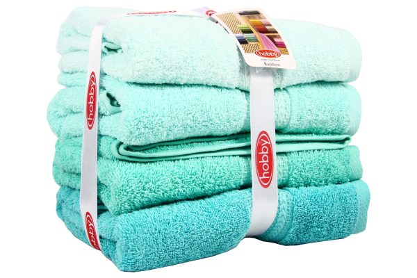 купить Набор полотенец в ванную RAINBOW S.Yesili 4шт Ментоловый|Бирюзовый фото