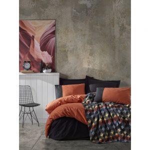 купить Постельное белье с пледом Cotton box KIREMIT SIYAH Оранжевый|Черный фото