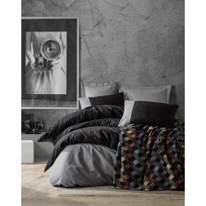 купить Постельное белье с пледом Cotton box SIYAH GRI Серый|Черный фото