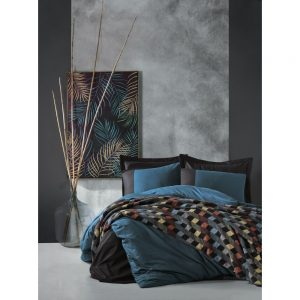 купить Постельное белье с пледом Cotton box PETROL SIYAH Синий|Черный фото