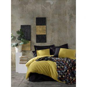 купить Постельное белье с пледом Cotton box HARDAL SIYAH Желтый|Черный фото