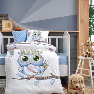 купить Постельное белье Cotton Box для новорожденных Owl Mavi Синий фото