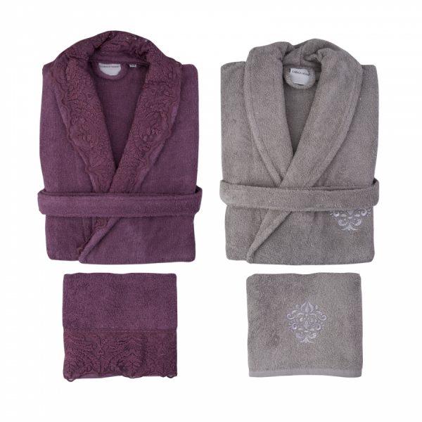 купить Набор халат с полотенцем Karaca Home Drisela 2018-2 murdum Сиреневый Серый фото